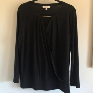 Chaus Black Faux Wrap Blouse w gold detail sz L